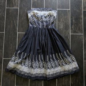 Vintage Embroidered Strapless Dress